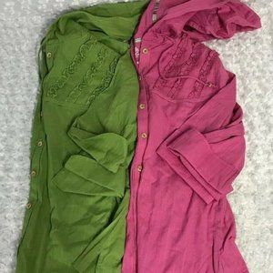 Lot of 2 Cabela's Ruffle  Size S Top  3/4 Sleeve